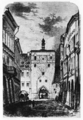 Pražská brána, České Budějovice, kresba Antonín Levý.png