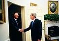 President George W. Bush welcomes Prime Minister Goh Chok Tong of Singapore.jpg