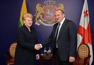 Giorgi Margvelashvili - President Giorgi Margvelashvili meeting his Lithuanian counterpart, Dalia Grybauskaitė, in November 2013.