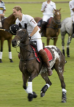 Prince William plays polo at Sandhurst, 2007.