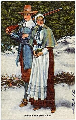 Priscilla Alden - Priscilla and John Alden depicted on a postcard