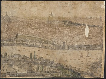 Part of the panoramic view of Constantinople- Kasimpasa shipyard is visible on the right