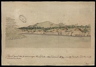 Prospecto da primeira serra que existe na margem oriental do Rio Mahú, na distância de 8 léguas e 2 milhas da sua foz, e na de 25 e 2 milhas da Fortaleza de S.Joaquim