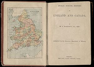 A fascinating map of England and Wales, published in an Ontario textbook in 1892.