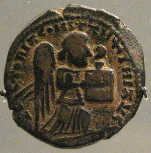Kara Arslan - Coin of Kara Arslan, no date, mint of Amid, with Roman winged victory holding a book. British Museum.