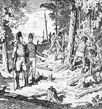 York, Upper Canada - Depiction of the Queen's Rangers of York cutting trees down during the construction of Yonge Street, 1795.
