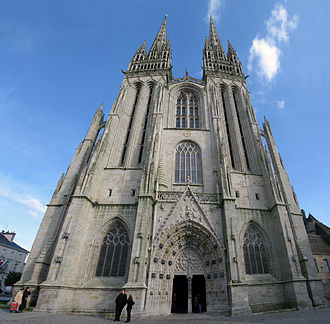 Quimper Cathedral - The west façade and portal of the Saint-Corentin cathedral