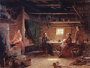 Pentti Lyytinen recites poems in a cottage in Savo