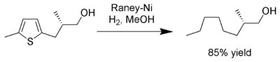 Chemical reaction: Reduction of thiophene under the action of hydrogen, Raney nickel and methanol