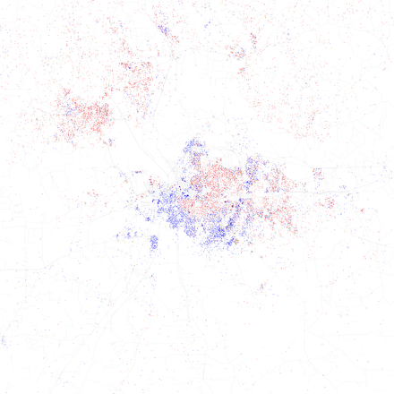 Map of racial distribution in Montgomery, 2010 U.S. Census. Each dot is 25 people: White, Black, Asian, Hispanic or Other (yellow) Race and ethnicity 2010- Montgomery (5559858413).png