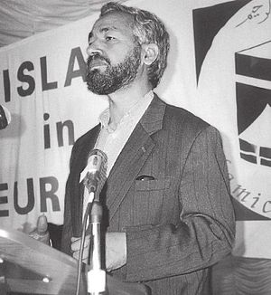 Rached Ghannouchi - Rachid Al-Ghannouchi speaking in an Islamist rally circa 1980.