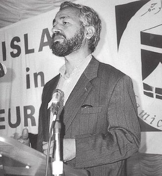 Ennahda Movement - Rached Ghannouchi speaking at an Islamist rally around 1980.