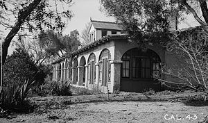 Rancho Guajome Adobe - Hacienda with arcaded veranda view from southeast (1936).
