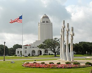 Administration Building (Randolph Air Force Base) - aka the Taj Mahal Missing Man Monument in the foreground