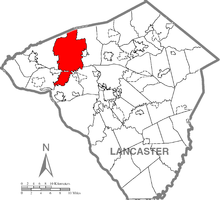 Map of Lancaster County, Pennsylvania highlighting Rapho Township