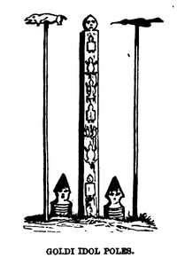 "Black and white drawing of a straight rectangular pole with animal-shaped decorations on it. The pole is flanked on each side with a thinner pole topped with what appears to be an animal. The caption, written in capital letters, reads ""Goldi Idol Poles""."