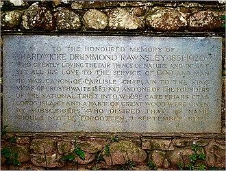 Hardwicke Rawnsley - Memorial to Rawnsley at Friar's Crag, Keswick