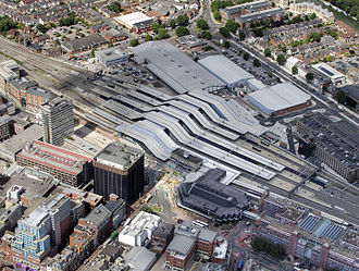 Reading railway station - Aerial view of Reading station in August 2014
