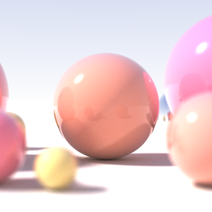 Ray tracing (graphics) - This recursive ray tracing of a sphere demonstrates the effects of shallow depth of field, area light sources and diffuse interreflection.