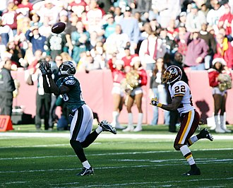 2006 Philadelphia Eagles season - Philadelphia's Reggie Brown goes for a catch at Washington in their 2006-week 14 matchup