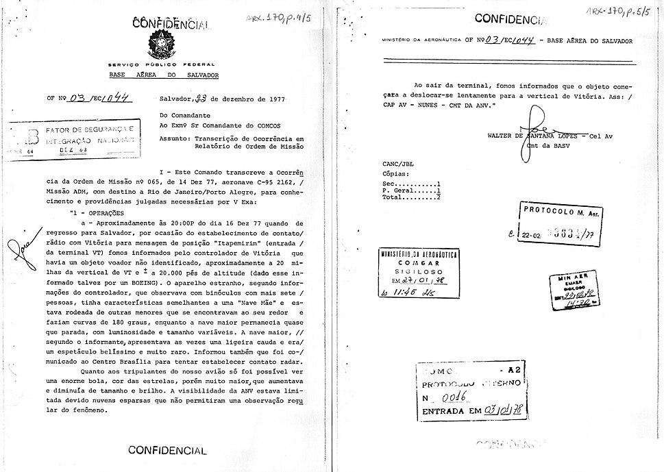 Registro de avistamento de Objeto Voador Não Identificado - OVNI ocorrido em dezembro de 1977, na Bahia