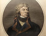 Print depicts a defiant-looking man with shoulder-length hair and a cleft chin. He wears a blue French military coat of the 1790s.