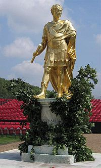 This statue of Charles II stands in the Figure Court of the Royal Hospital Chelsea.