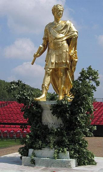 Statue of Charles II (c. 1682) in ancient Roman dress by Grinling Gibbons at the Royal Hospital Chelsea Rhc-charles2.jpg