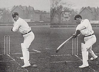 Wilfred Rhodes - Before and after pictures of Rhodes playing a drive, photographed by George Beldam in 1906