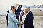 Richard Nixon greets Hiram Fong.jpg