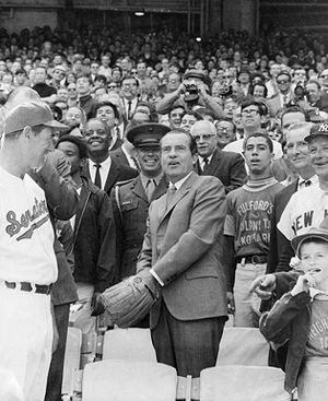 Texas Rangers (baseball) - U.S. President Richard Nixon throwing Opening Day ceremonial first pitch at RFK Stadium on April 7, 1969 with Ted Williams (left) and Bob Short (right, partially obscured by Ralph Houk).