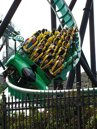 The Riddler's Revenge - One of the trains on The Riddler's Revenge