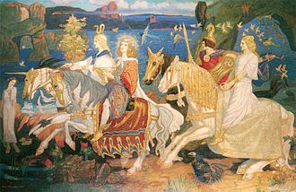 "Tuatha Dé Danann - The Tuatha Dé Danann as depicted in John Duncan's ""Riders of the Sidhe"" (1911)"
