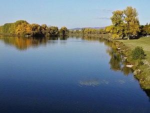 Piešťany - The Váh river in Piešťany.