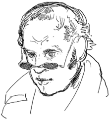 Black-and-white drawing of a middle-aged man, facing down left.