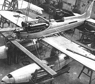 Supermarine S.6B - A Supermarine S.6B under construction, showing the Rolls-Royce R engine
