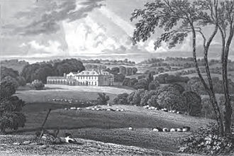 Eliab Harvey - Rolls Park, the Harvey family home ---- From Views of the seats of noblemen and gentlemen in England, Wales, Scotland and Ireland, Second Series, Volume III, by John Preston Neale, 1826.
