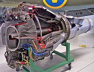Vista en corte de un de Havilland Goblin, un turborreactor de flujo centrífugo utilizados en los primeros aviones de reacción británicos.