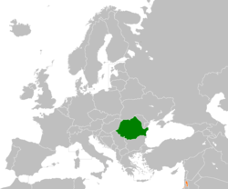 Map indicating locations of Romania and Palestine