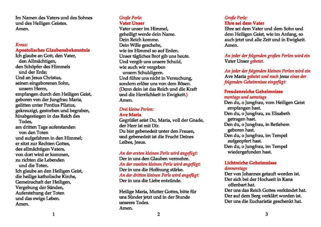 Rosenkranzgebet Text