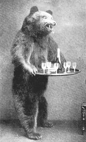 """Rowland Ward - Bear """"dumbwaiter"""" holding drinks for arriving guests."""