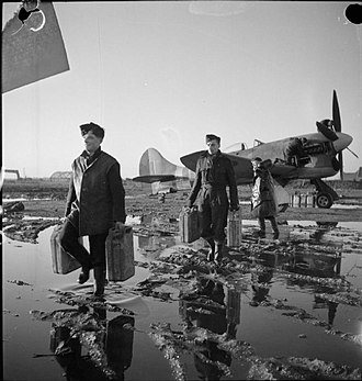 No. 56 Squadron RAF - No. 56 Squadron Hawker Tempest Mk.V undergoing servicing while at Volkel.