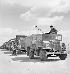 Canadian Military Pattern truck - A Ford F15 (4x2) leading a RAF convoy in North Africa