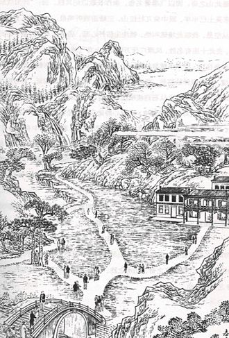 Dollar, Clackmannanshire - A sketch of the Mill Green in the 19th century by Wang Tao