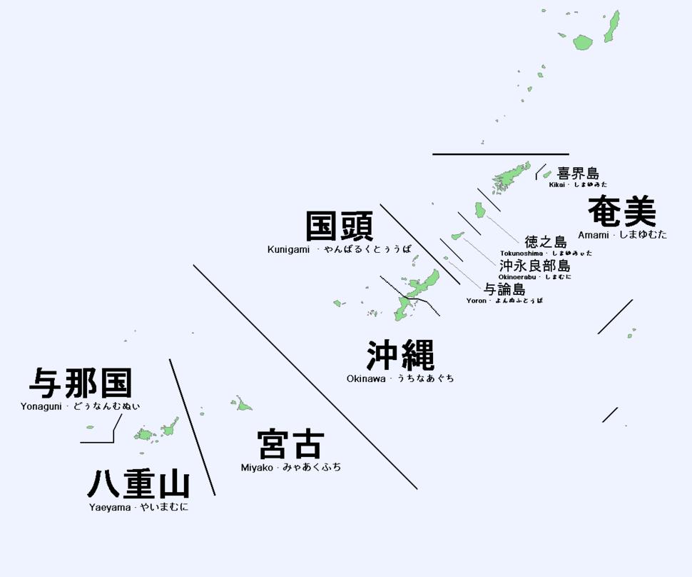 Ryukyuan languages map