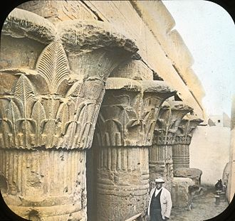 Esna - Lantern Slide Collection: Views, Objects: Egypt. Columns in Temple of Esneh., n.d.,Brooklyn Museum Archives