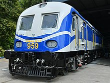 Two-tone blue diesel locomotive