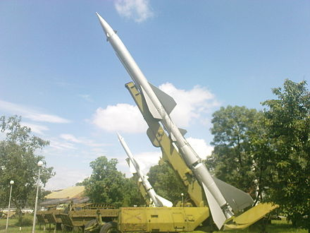 SA-2 Guideline surface-to-air missiles, one of the most widely deployed SAM systems in the world SA-2 Guideline.JPG