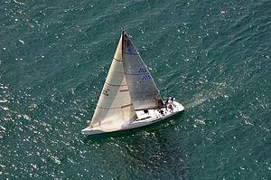Genoa (sail) - SC70 RETRO's genoa overlaps the main sail and the mast