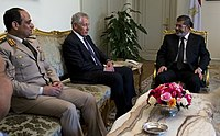 SD Chuck Hagel meets with President Mohamed Morsy in Cairo, Egypt, April 24, 2013 (cropped).jpg